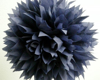 NAVY / 1 tissue paper pom pom / wedding decorations / bar mitzvah decoration / graduation decorations / navy blue decorations / pompoms /