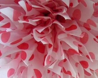 RED POLKA DOT / 1 tissue paper pom pom / circus birthday decorations / minnie mouse decorations / ladybug theme / polka dot party decoration