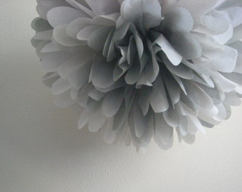 MIXED GRAY / 1 tissue paper pom pom / diy / wedding decorations / silver anniversary decor / nursery poms / gray decorations / pompoms /