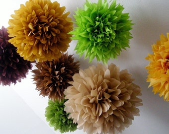 WOODLAND / 10 tissue paper pompoms / forest nature rustic barn wedding decor/ baby boy shower / brown gold green decorations
