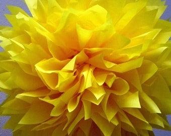 LEMON / 1 tissue paper pom pom / wedding decorations / diy / birthday party decor / yellow decorations / pompoms / bright yellow decoration