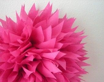 CERISE / 1 tissue paper pom / wedding decorations / diy / birthday party poms / hot pink / luau decorations / hot pink fuchsia decorations