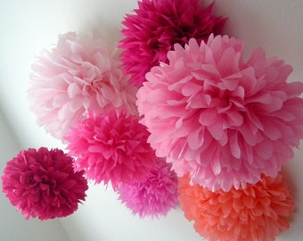 PINK tissue paper poms / set of 10 / blush wedding decorations girl first birthday party pompom sweet sixteen quinceanera bat mitzvah