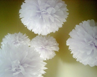 OPTIC WHITE / 20 tissue paper pompoms / christening baptism decor / wedding anniversary party bright white decorations / bridal baby shower