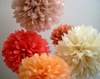 tissue paper poms / set of 5 / paris theme wedding decorations / parisian birthday party / peach coral pink nursery decoration