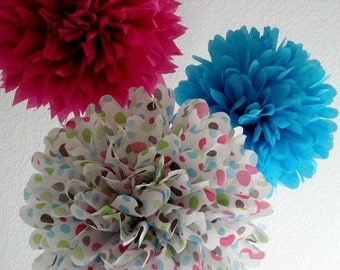 BIRTHDAY FUN ... 3 tissue paper poms // polka dots // birthday party decoration // kid party // pink // turquoise