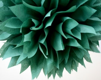 HUNTER GREEN / 1 tissue paper pompom / wedding decoration / diy / tissue paper decorations / green decorations / pompoms / holiday decor