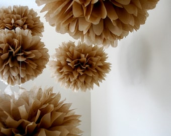NEUTRAL / 10 tissue paper pom poms / DIY / wedding decorations / brown decorations / tan decorations / housewarming party