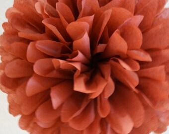 BURNT RED / 1 tissue paper pom pom / diy / wedding decorations / red decorations / aisle marker poms / hanging poms / nursery decorations