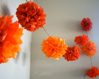 ORANGE MIX / diy tissue paper pom pom garland / nursery decoration / wedding decorations / birthday party decor / orange decorations