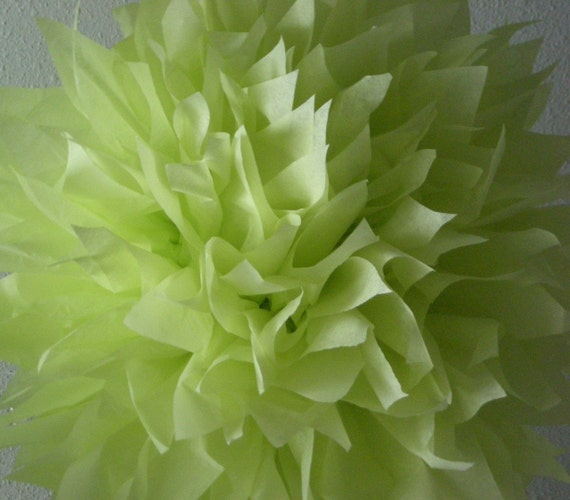 MARGARITA / 1 tissue paper pom pom / wedding decorations / luau / mexican fiesta / birthday party decorations / soft lime green decorations