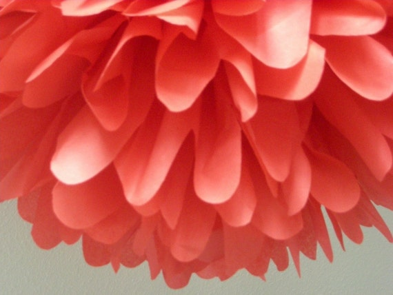 LIGHT RED / 1 tissue paper pom pom / wedding decorations / diy / red decorations / hanging poms / aisle marker pom / chinese new year decor