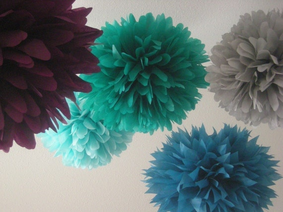 MAGIC HOUR / 5 tissue paper pom poms / diy / wedding decoration / nursery decorations / aisle marker / paper pompoms / birthday party decor