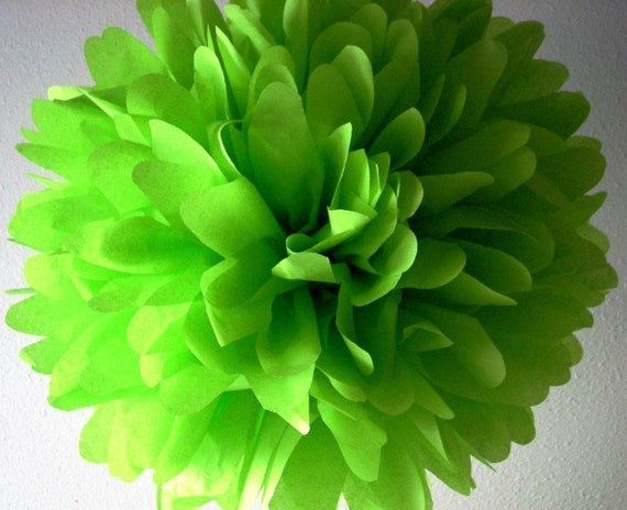 CITRUS LIME GREEN / 1 tissue paper pom pom / wedding decorations / diy / lime green decorations / birthday party pom decorations / pompoms