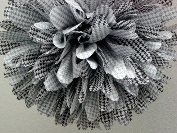 HOUNDSTOOTH / 1 tissue paper pompom / grad party decorations / black and white decorations / hanging poms / bachelorette party decorations