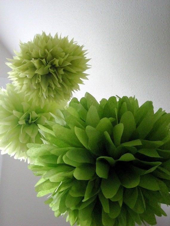 GREENS ... 3 tissue paper poms // diy // wedding reception // baby shower // birthday // party decorations
