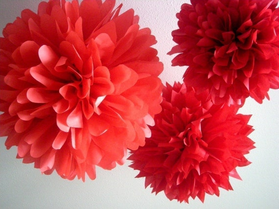 REDS ... 3 tissue paper poms // wedding decorations // birthdays // holidays // eco party decorations