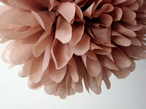 MINK / 1 tissue paper pom pom / wedding decorations / diy / birthday party poms / brown decorations / pompoms / hanging pom / rustic wedding
