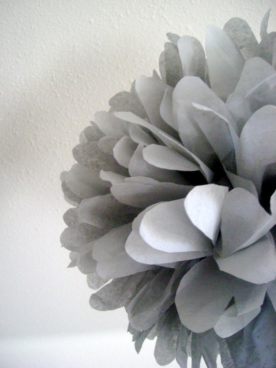 SLATE GRAY / 1 tissue paper pompom / wedding decorations / diy / gray decorations / gray poms / birthday party decor / baby shower poms