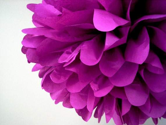 PLUM / 1 tissue paper pom pom / wedding decorations / diy / plum purple decorations / birthday party poms / nursery decoration / pompoms