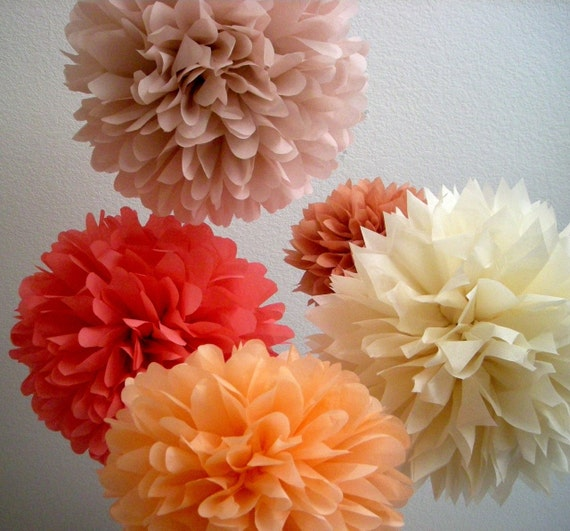 XOXO / 5 tissue paper poms / wedding decorations / diy / parisian theme / coral decorations / birthday party poms / nursery decorations