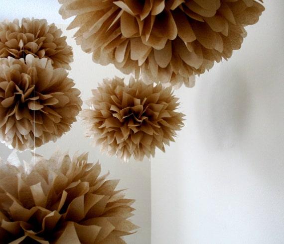 NEUTRAL / 10 tissue paper pom poms / DIY / wedding decorations / brown decorations / tan decorations / housewarming party