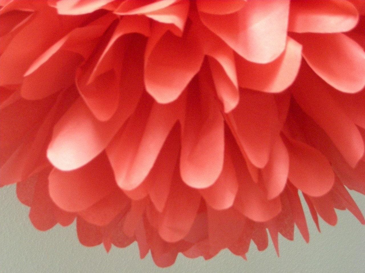 light red 1 tissue paper pom pom wedding decorations diy. Black Bedroom Furniture Sets. Home Design Ideas
