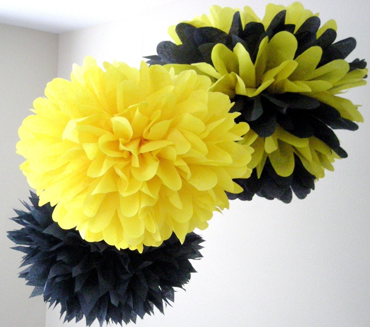 SALE BUMBLE BEE 3 Tissue Paper Poms Bumble Bee Birthday