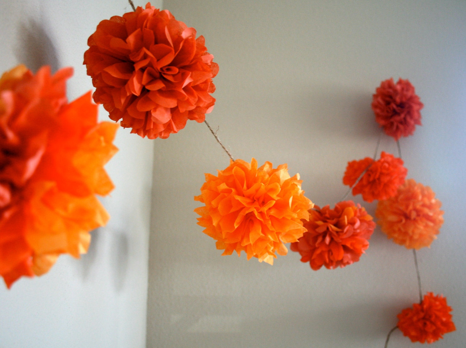 Orange mix diy tissue paper pom pom garland nursery for Paper decorations diy