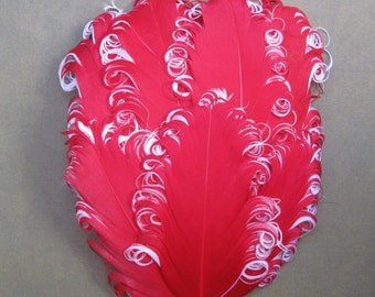 Feather Pad - 1 Red and White Curled Goose Feather Pad
