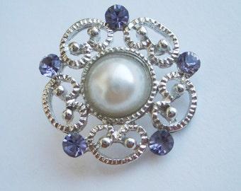 SET OF 2 - Vintage Style Pearl & Grey Rhinestone Shank Button 7/8 inch