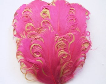 Feather Pad - 1 Pink and Champagne Curled Goose Feather Pad
