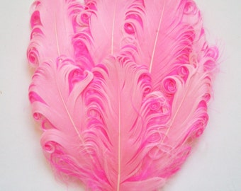 Feather Pad - 1 Light Pink on Hot Pink Curled Goose Feather Pad