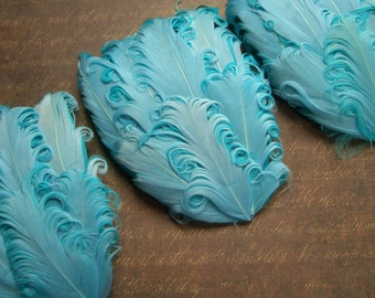 CLEARANCE - Imperfect Aquamarine Curled Goose Feather Pads - 2.75 ea