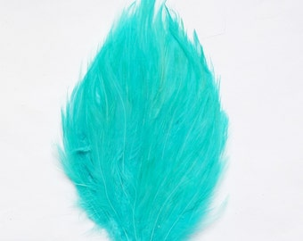 Feathers - Light Turquoise Bright Aqua Hackle Feather Pad