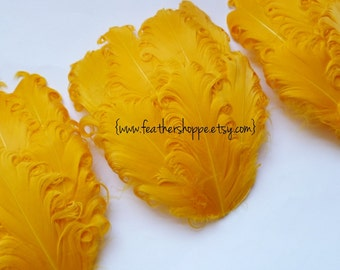 SET OF 5 - Yellow Curled Goose Feather Pad