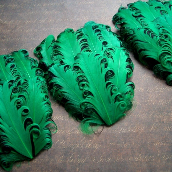 CLEARANCE - Leftover Kelly and Black Curled Goose Feather Pads - 3.00 ea