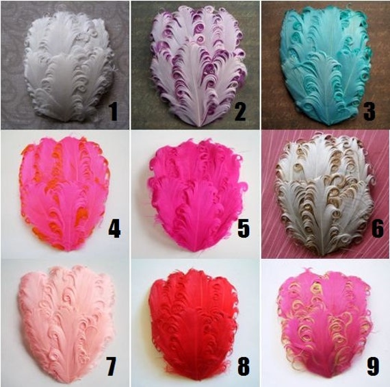 Wholesale Feather Pads - YOU CHOOSE 5 - Curled Goose Nagorie Pads