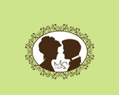 Wedding Stamp - Custom Wedding Stamp - Custom Stamp - Custom Rubber Stamp - Personalized Stamp - Couple Silhouette Stamp - C161