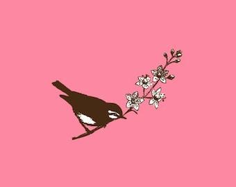 Bird on Branch Stamp   Bird Stamp   Rubber Stamp   Craft Stamp   A63