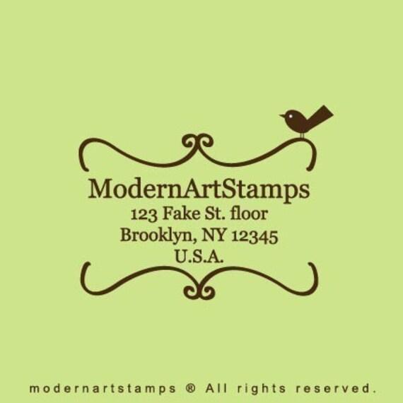 Custom Bookplate With Bird Address Rubber Stamp - C59