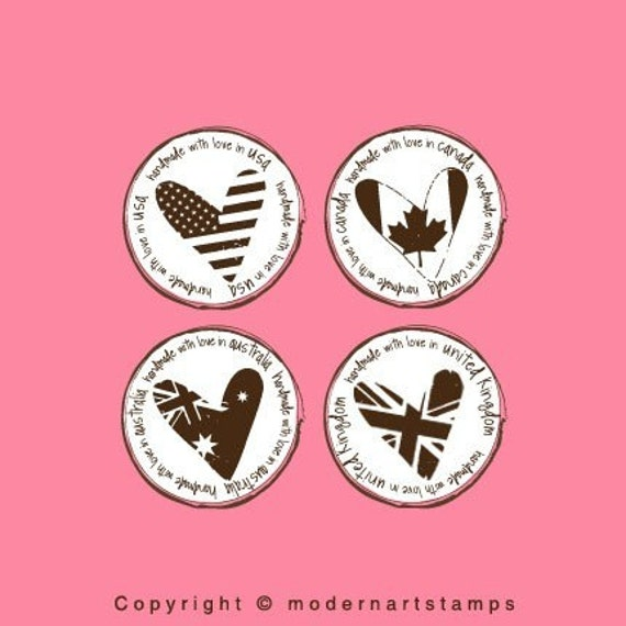 Handmade with Love Flag Stamp   Rubber Stamp   Craft Stamp    A70