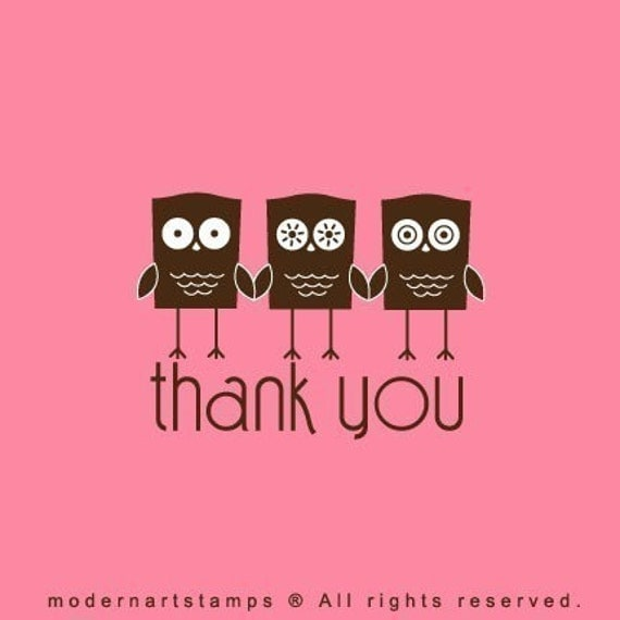 Thank You Stamp   Owl Stamp   Rubber Stamp   Craft Stamp   A52