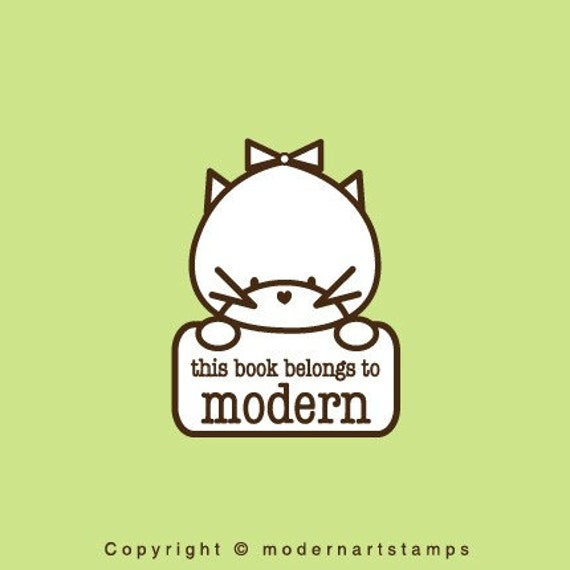 Custom Rubber Stamp   Custom Stamp   Personalized Stamp   Teacher Gifts   This book belongs to Stamp   Cat Stamp   C366
