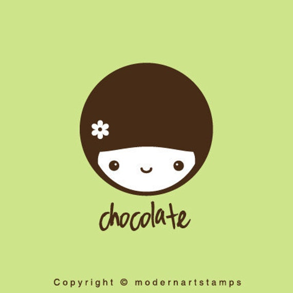 Custom Rubber Stamp   Custom Stamp   Personalized Stamp   Gifts for Her   Doll Stamp   Girl Stamp   Chocolate   C437
