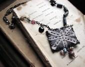 London sky - union jack flag necklace - shabby textile - vintage beads