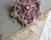strawberry - salvage lace doily brooch - hand dyed lace - vintage button