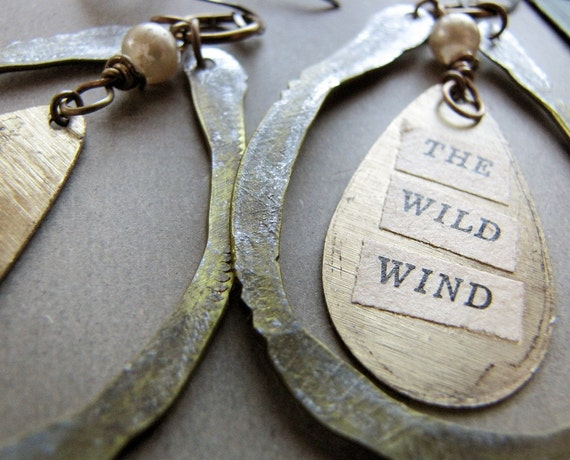 moving house sale - Wild Wind - recycled metal earrings with glass pearls