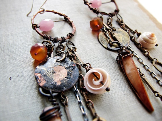 rainmaker - assemblage earrings - long bohemain style - vintage chain - shell charms