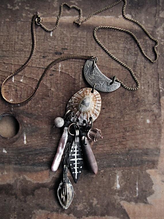 Enceladus - assembalge necklace - cluster charm - ocean theme - shells - tribal sci fi